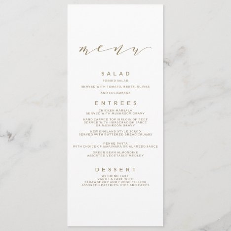Calligraphy Wedding Menu | Gold
