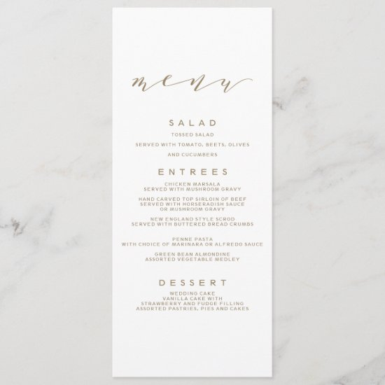 Calligraphy Wedding Menu | Gold