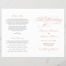 Calligraphy Wedding Programs | Pink and Gray