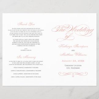 Calligraphy Wedding Programs   Pink and Gray