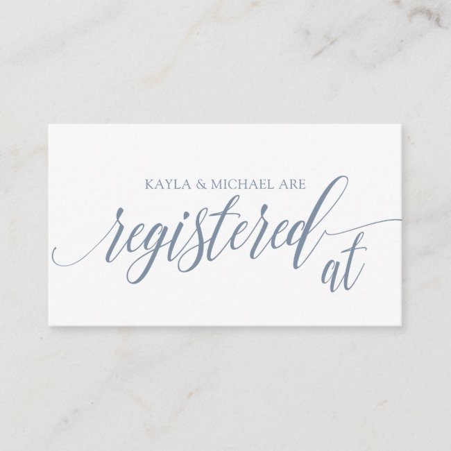 Calligraphy Wedding Registry Cards - Dusty Blue
