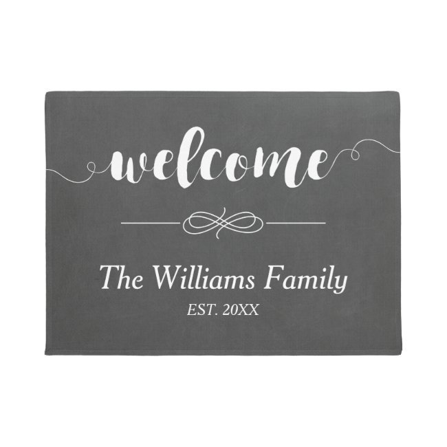 Calligraphy Welcome Chalkboard | Family Name Doormat