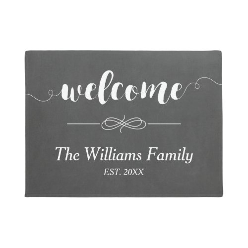 Calligraphy Welcome Chalkboard  Family Name Doormat