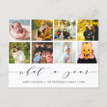 """Calligraphy What a Year White Photo Collage Holiday Postcard<br><div class=""""desc"""">Use this holiday card to let your friends and family see important events that have happened that past year. There are nine slots for photos where you can incorporate important events like graduations,  the first day of school,  birthdays,  new babies and more.</div>"""