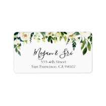 Calligraphy White Floral Greenery Wedding Label