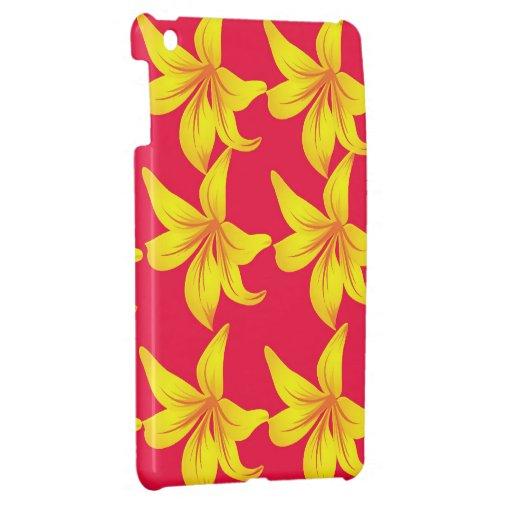 Callily amarillo florece en mini caso del iPad roj iPad Mini Cárcasas