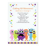 "Calling All Monsters Kids Birthday Invitation 5"" X 7"" Invitation Card"