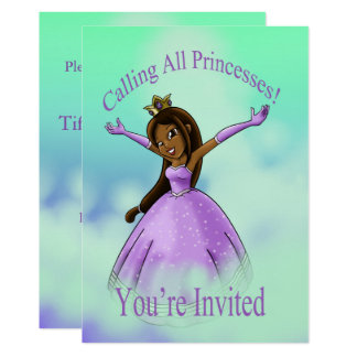 """Calling All Princesses Birthday Invitation"" 5""x7"" Card"
