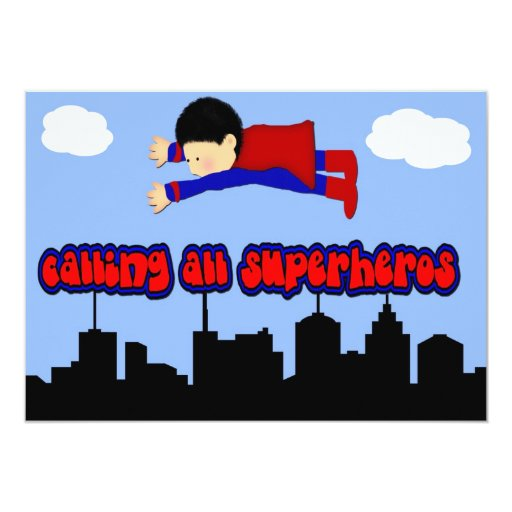 Calling All Superhero's Party 5x7 Paper Invitation Card