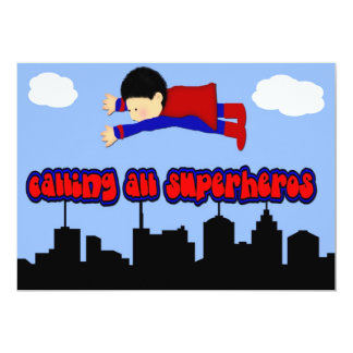 Calling All Superhero's Party Card