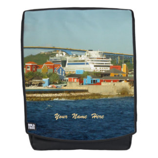 Calling at Curacao St. Anna Bay Personalized Backpack