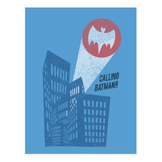 Calling Batman Bat Symbol Graphic Postcard