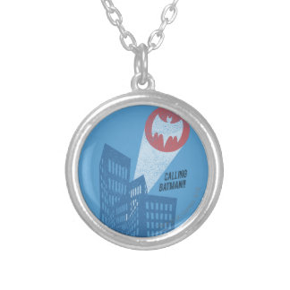 Calling Batman Bat Symbol Graphic Silver Plated Necklace