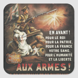 Calling Canadian and French to Service WWI Square Sticker