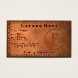 calling card leather letter E