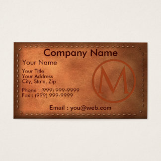 calling card leather letter M