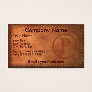 calling card leather letter P