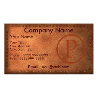 calling card leather letter P Business Card