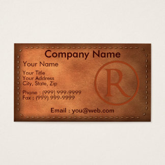 calling card leather letter R