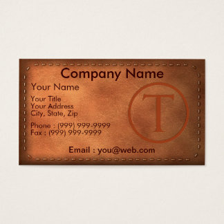 calling card leather letter T