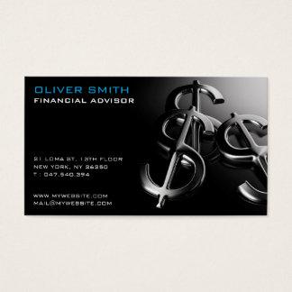 Calling card on black bottom finances and dollar