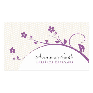 Calling card with flowers purple and chevrón business card template