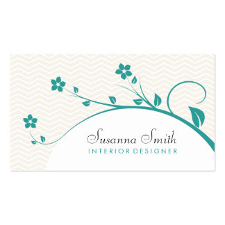 Calling card with green flowers and chevrón business cards
