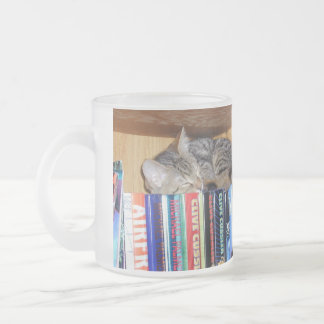 Calling Kitty & Book Lovers 10 Oz Frosted Glass Coffee Mug