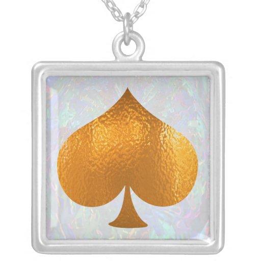 "Calling Spade ""A SPADE"" - Poker Mania Square Pendant Necklace"