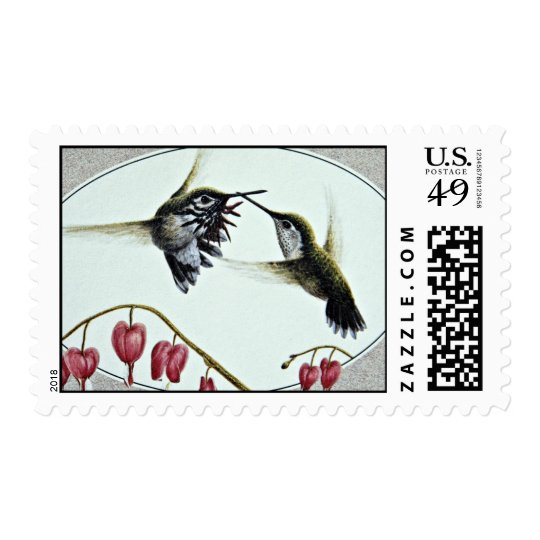 Calliope hummingbirds  flowers postage stamp