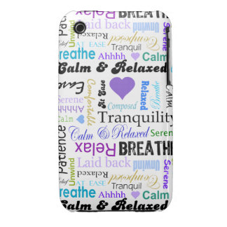 Calm and Relaxing positive words typography iPhone 3 Cases