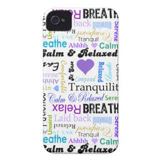 Calm and Relaxing positive words typography iPhone 4 Case-Mate Cases