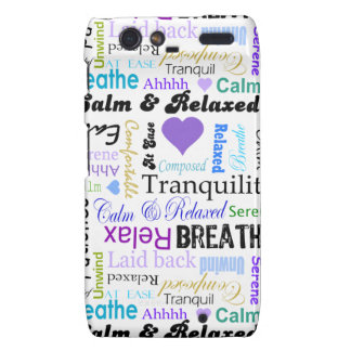 Calm and Relaxing positive words typography Motorola Droid RAZR Cover