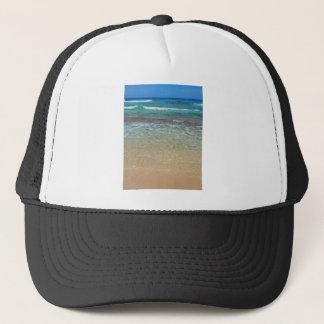 Calm beach waters trucker hat