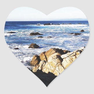 Calm Coastal Seas Heart Sticker