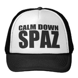 CALM DOWN SPAZ Snap Back Mesh Trucker Hat (Black)
