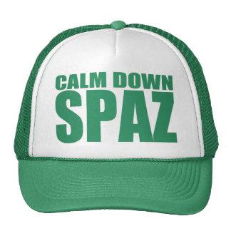 CALM DOWN SPAZ Snap Back Mesh Trucker Hat (Green)