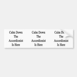 Calm Down The Accordionist Is Here Bumper Sticker