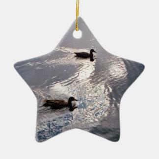 Calm Ducks Before the Storm Ceramic Ornament