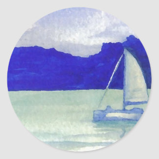 Calm Easy Sailing  CricketDiane Ocean Art Round Sticker