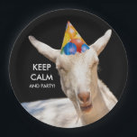 "Calm Goat Paper Plates<br><div class=""desc"">Calm Goat Paper Plates says ""Keep Calm and Party"" He looks like he's falling asleep. Or delete the text and add your own.</div>"