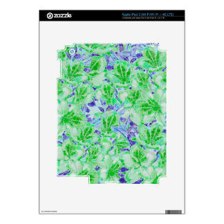Calm Green Blue Abstract Flowers iPad 3 Decal