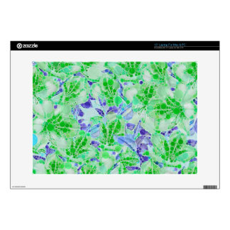 Calm Green Blue Abstract Flowers Skin For Laptop
