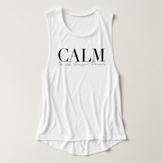 Calm Is A Super Power | Yoga Typography Flowy Muscle Tank Top