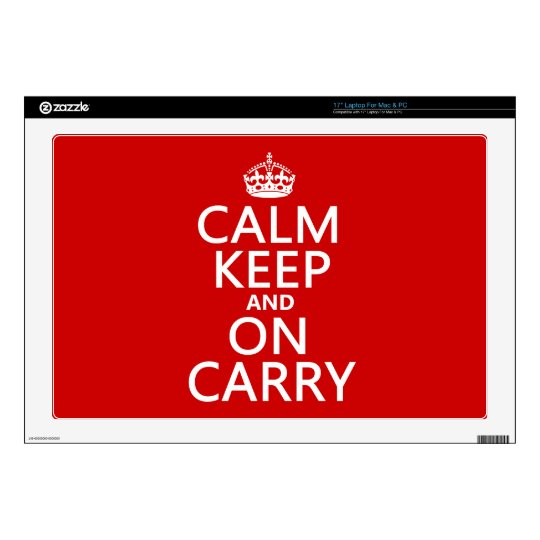 """Calm Keep and On Carry - all colours Decals For 17"""" Laptops"""