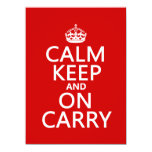 "Calm Keep and On Carry - all colours 5.5"" X 7.5"" Invitation Card"