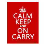 Calm Keep and On Carry - all colours Postcard