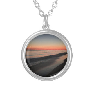 Calm morning beach sunrise silver plated necklace