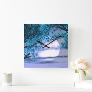 Calm night under the blue tree - Digital Art Square Wall Clock