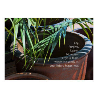 Calm Plant and quote by Steve Maraboli Poster